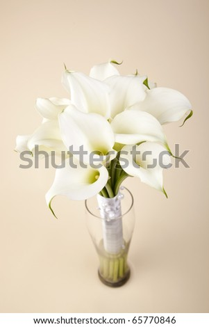 Bridal bouquet of white feces in a glass vase - stock photo
