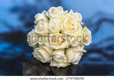 Bridal bouquet of white roses - stock photo