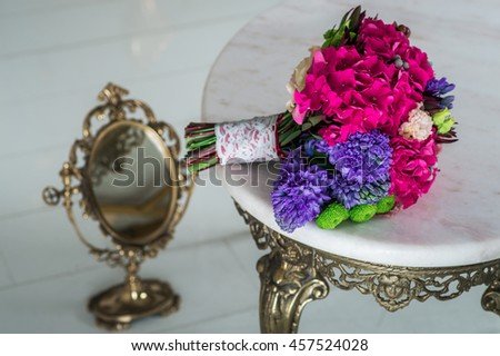bridal bouquet on the table - stock photo
