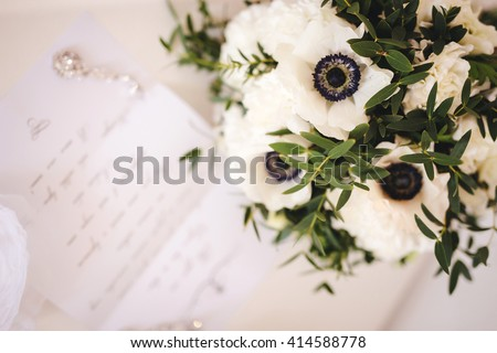 Bridal Bouquet with anemone - stock photo