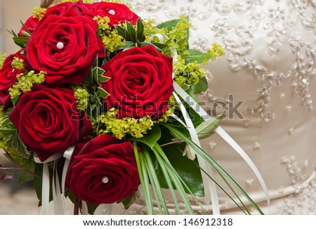 bridal bouquet with red roses - stock photo