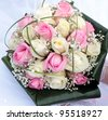 Bridal bouquet with white and pink rose on wedding day/wedding flowers - stock photo