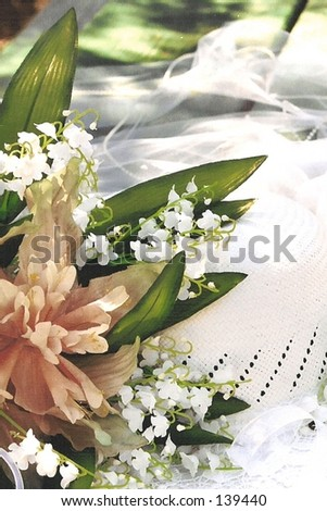 Bridal hat with flowers - stock photo