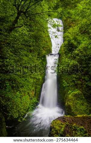Bridal Veil Falls, in the Columbia River Gorge, Oregon. - stock photo