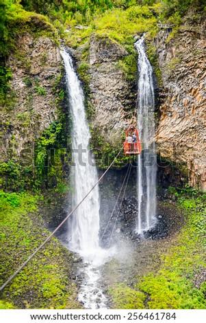 Bridal veil (Manto de la novia), waterfall in Cascades route, Banos, Ecuador - stock photo