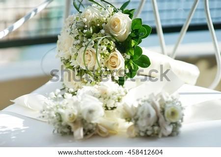 Bridal wedding bouquet of flowers - stock photo