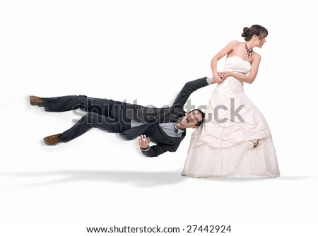 Bride abusing groom, isolated on white - stock photo