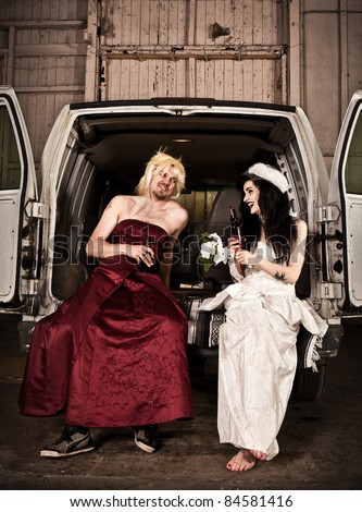 Bride Cross Dressing Bridesmaid Hillbilly Wedding Stock