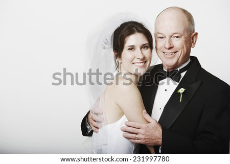 Bride and Father - stock photo