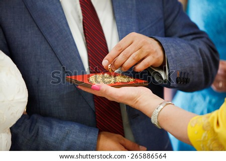 bride and groom are changing rings on wedding - stock photo