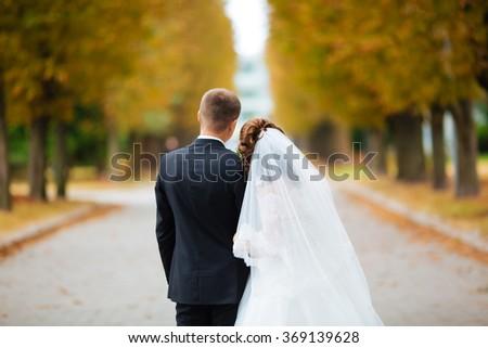 Bride and Groom are walking away in garden. - stock photo