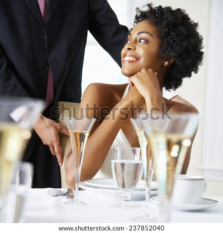Bride and Groom at Reception - stock photo