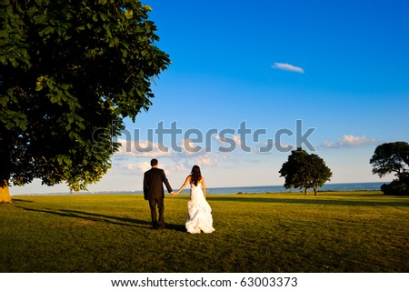 Bride and groom at the ocean - stock photo