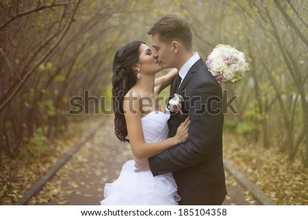 Bride and groom at wedding ceramony near trees on park/  Smiling bride and groom. Beautiful couple in love embracing bride and groom. - stock photo