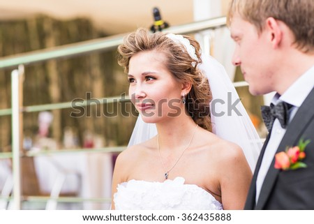 Bride And Groom  At Wedding Reception - stock photo