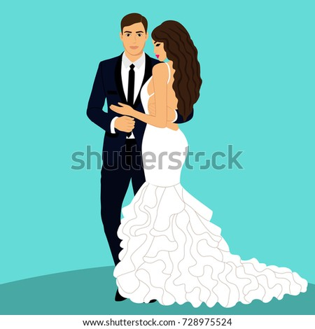 Bride and groom. Couple. Wedding card with the newlyweds. Isolated objects.  illustration.