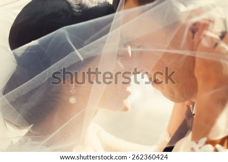 bride and groom covered with veil close-up - stock photo