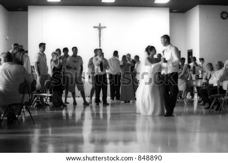 Bride and Groom Dancing - stock photo