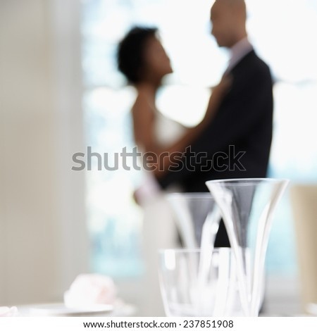Bride and Groom Dancing at Reception - stock photo
