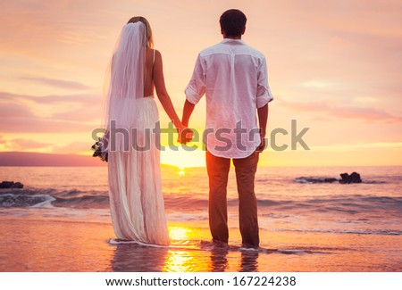 Bride and Groom, Enjoying Amazing Sunset on a Beautiful Tropical Beach, Romantic Married Couple - stock photo