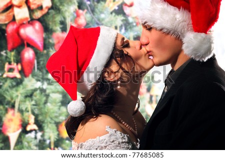 bride and groom happy kissing christmas young