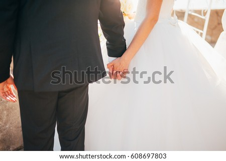 Bride and groom holding hands. Wedding in Montenegro.