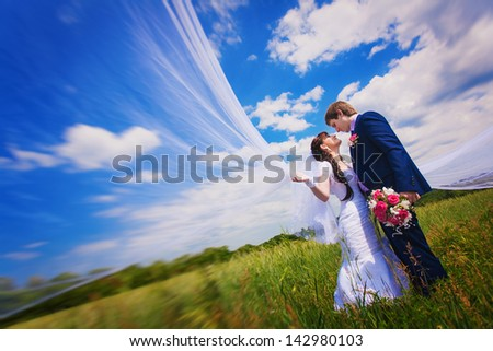 bride and groom in the green field