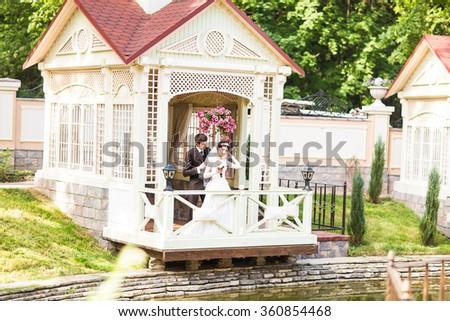 Bride and groom is enjoying wedding - stock photo