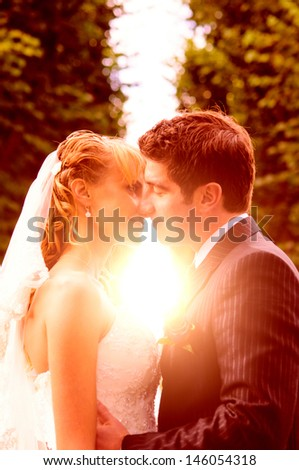 bride and groom is kissing with joined hands to the sunset - stock photo