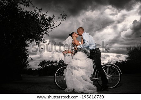 Bride and groom kissing on a bicycle  - stock photo