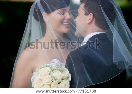 Bride And Groom Kissing Under Veil Holding Flower Bouquet In Hand. - stock photo