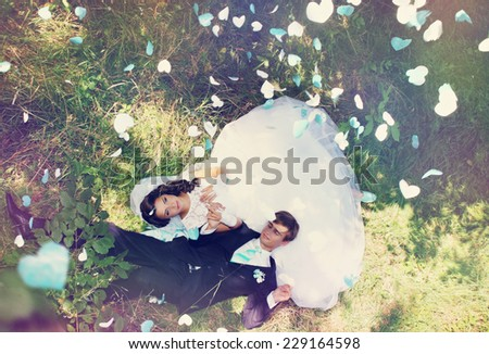 bride and groom lie on the grass under the falling hearts - stock photo