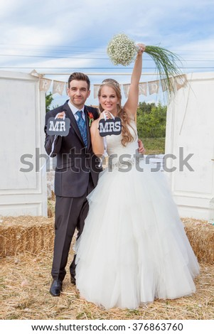 bride and groom newly married at wedding reception. , - stock photo