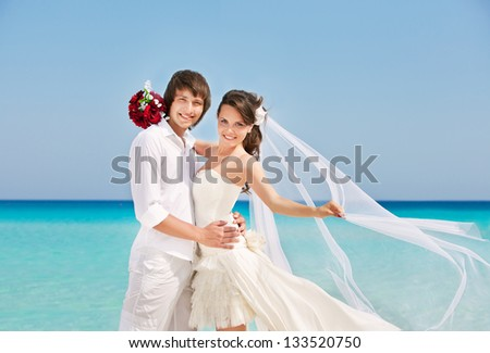 Bride and groom on a romantic place - stock photo