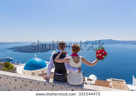 Bride and groom on the Greek island of Santorini