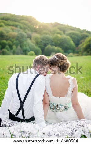 Bride and Groom on wedding day - stock photo