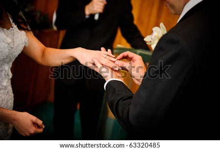 Bride and groom ring exchange - stock photo
