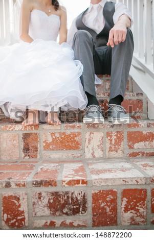 Bride and Groom's Feet - stock photo
