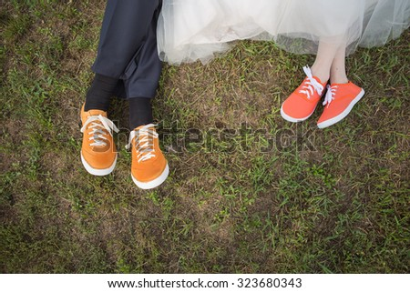 Bride and Groom's Shoes as colored sneakers