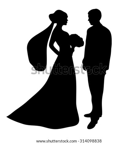 wedding silhouettes vector stock vector 17976706