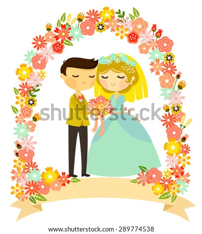 bride and groom standing under a colorful frame of flowers - stock photo