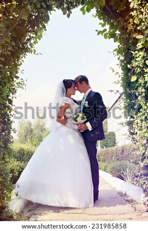 bride and groom under the arch of the hedge - stock photo