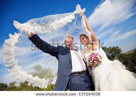 bride and groom under the veil