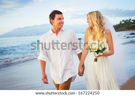 Bride and Groom, Walking on a Beautiful Tropical Beach at Sunset, Romantic Married Couple