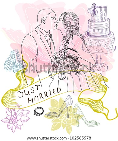 Bride and Groom. Wedding Background with different elements - stock photo