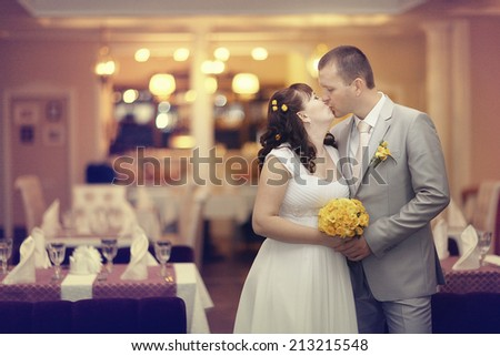 bride and groom wedding banquet restaurant - stock photo