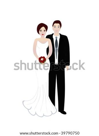 Bride and groom wedding. Illustration on white background - stock photo