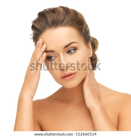 bride and wedding concept - depressed woman holding hands on her neck and forehead - stock photo