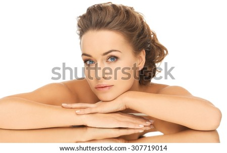 bride and wedding concept - dreaming woman with the mirror - stock photo