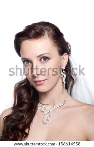 Bride beautiful woman portrait - wedding style - stock photo